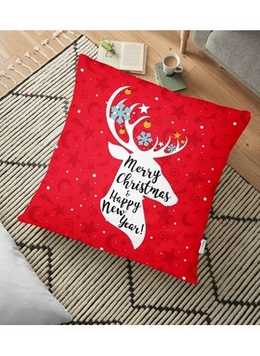 Real Homes Merry Christmas Geyik Desenli Dekoratif Yer Minderi - 70 x 70 cm Renkli